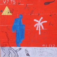 Who Will Be Rescued? One by Samiran Dhar, Expressionism Painting, Mixed Media on Paper, Red color