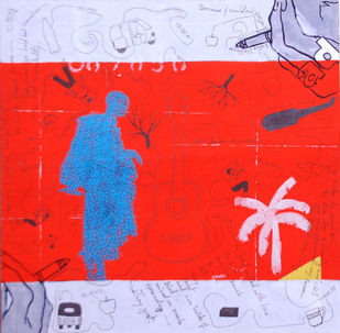 Who Will Be Rescued? Two by Samiran Dhar, Expressionism Painting, Mixed Media on Paper, Red color