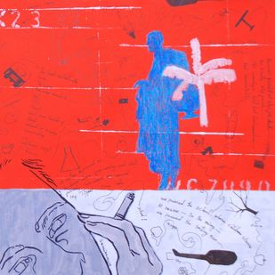 Who Will Be Rescued? Four by Samiran Dhar, Expressionism Painting, Mixed Media on Paper, Red color