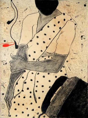 Tele booth and She by Samiran Dhar, Expressionism Drawing, Mixed Media on Paper, Beige color