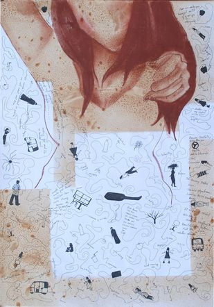 """Drawing """"F"""" two by Samiran Dhar, Expressionism Drawing, Mixed Media on Paper, Cyan color"""