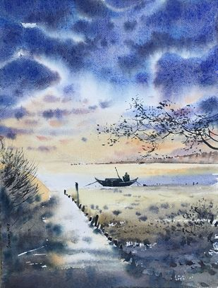 untitled 2 by SOUMI JANA, Impressionism Painting, Watercolor on Paper, Blue color
