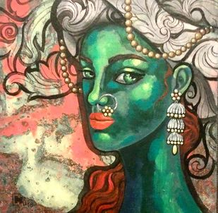 you are your thoughts by Suruchi Jamkar, Expressionism Painting, Acrylic on Canvas, Brown color