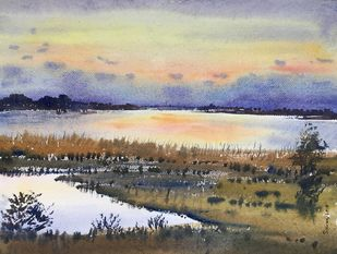 untitled 4 by SOUMI JANA, Impressionism Painting, Watercolor on Paper, Beige color