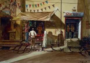 Temple street by Ram Kumar Maheshwari, Impressionism Painting, Watercolor on Board, Brown color