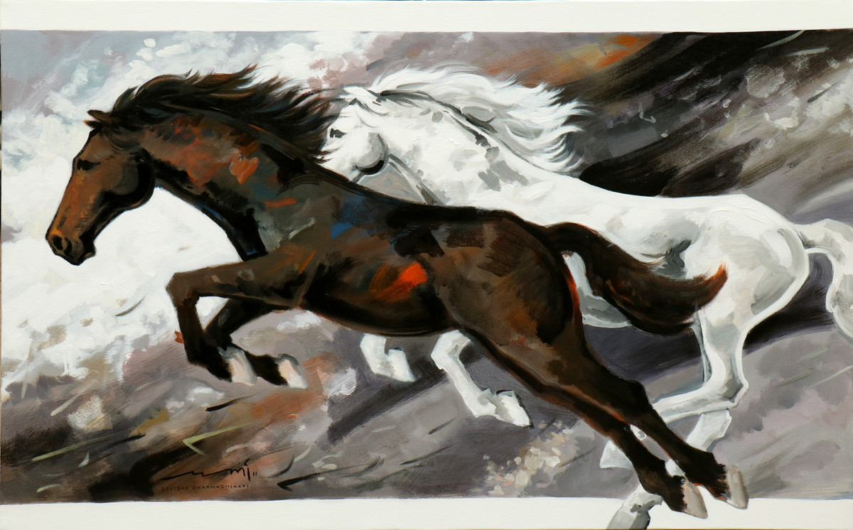HORSE SERIES-108 by Devidas Dharmadhikari, Expressionism Painting, Acrylic on Canvas, Gray color
