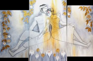 Paradise by Janaki Injety, Expressionism Painting, Acrylic on Canvas, Gray color