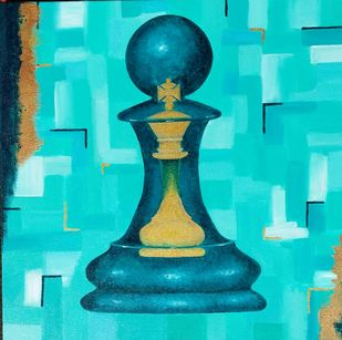 Potential by Swati Joshi Phatak, Expressionism Painting, Acrylic on Canvas, Cyan color