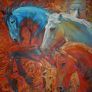 INNER STRENGTH by Subrata Ghosh, Expressionism Painting, Acrylic on Canvas, Brown color