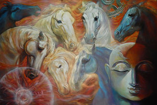 THE POWER by Subrata Ghosh, Expressionism Painting, Acrylic on Canvas, Brown color