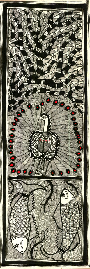 Madhubani by Unknown Artist, Folk Drawing, Acrylic & Ink on Paper, Brown color
