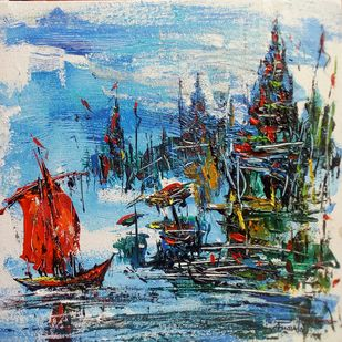 Varanasi I by Ananda Das, Expressionism Painting, Acrylic on Canvas, Green color