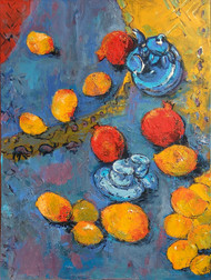 Indian Summer-I: Still Life with Mangoes, Pomegranate & Tea Pot by Animesh Roy, Expressionism Painting, Acrylic on Canvas, Brown color
