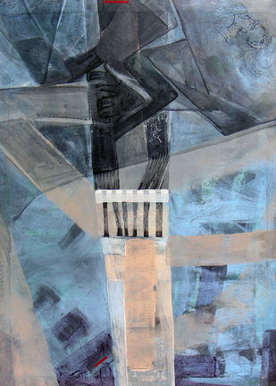 Move to another City II by Prabin Kumar Nath, Expressionism Painting, Acrylic on Canvas, Green color