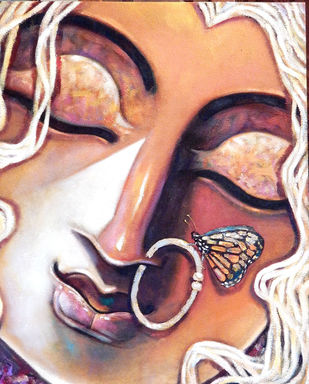 SHE by Subrata Ghosh, Expressionism Painting, Acrylic on Canvas, Brown color