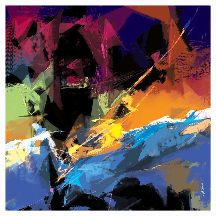 Untitle-Ar01 by Ajit Lakra, Abstract Digital Art, Digital Print on Canvas, Blue color