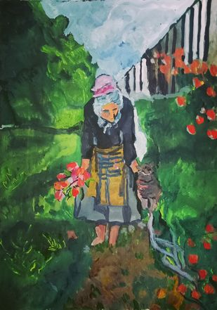 The garden by Rupinder kaur, Expressionism Painting, Watercolor on Paper, Gray color