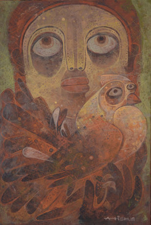 Untold story 03 by Atish Mukherjee, Expressionism Painting, Tempera on Canvas Board, Brown color