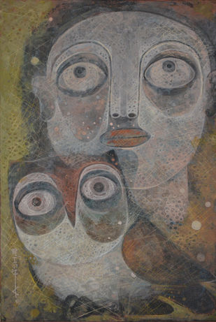 Untold story 04 by Atish Mukherjee, Expressionism Painting, Tempera on Canvas Board, Gray color