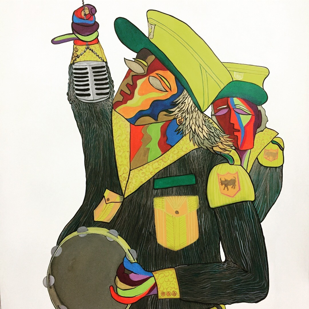 Band Wala singer by Izhar Alam, Expressionism Painting, Acrylic & Ink on Paper, Green color
