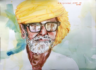 portrait of an old man by Sreenivasa Ram Makineedi, Expressionism Painting, Watercolor on Paper, Beige color