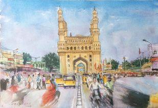 Busy Charminar by Sreenivasa Ram Makineedi, Impressionism Painting, Watercolor on Paper, Cyan color