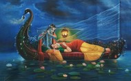 Royal Raas Night - Part 2 by Hitesh Hariom, Fantasy Painting, Oil on Canvas, Blue color