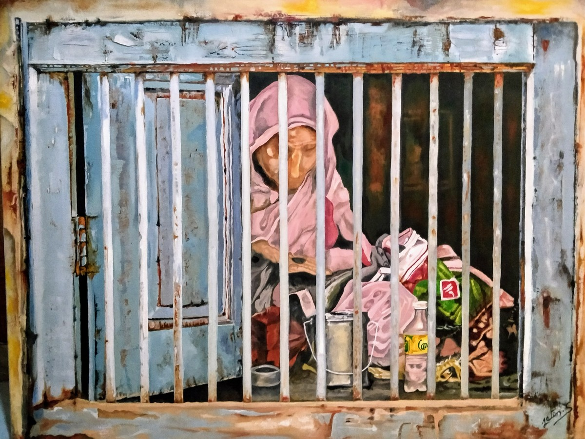 Counting Blessings by Jatin Satsangi, Realism Painting, Oil on Canvas, Brown color