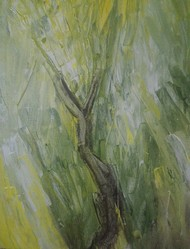 Savannah by Broti Ganguly, Abstract Painting, Acrylic on Canvas, Green color