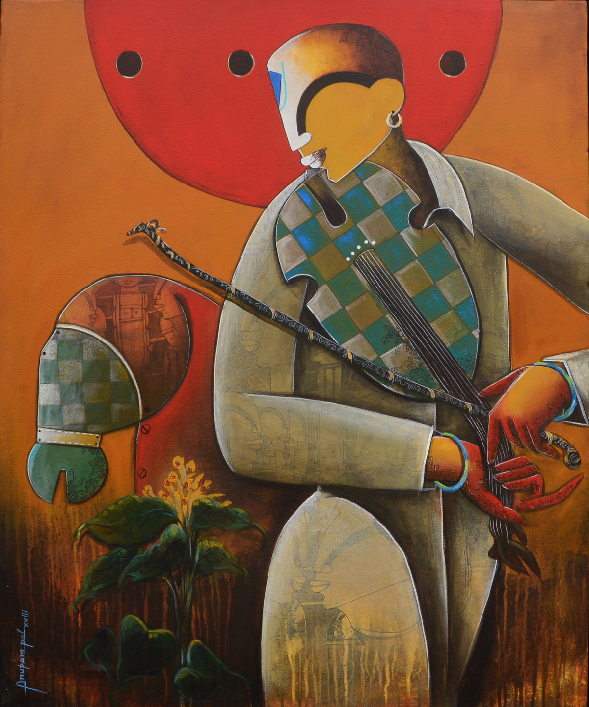 musician -2 by anupam pal, Decorative Painting, Acrylic on Canvas, Brown color