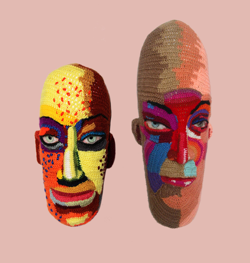 Couple face 19 by Archana Rajguru, Art Deco Sculpture   3D, Mixed Media, Pink color