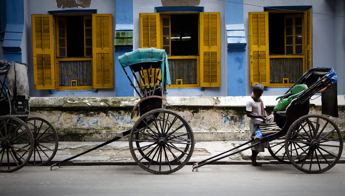 The Sudder Street Rickshaw by Gautam Vir Prashad, Image Photography, Giclee Print on Hahnemuhle Paper, Gray color
