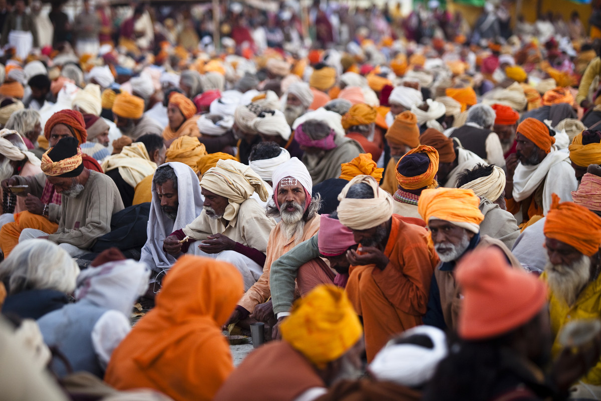 Gathering of the Sadhus by Gautam Vir Prashad, Image Photography, Giclee Print on Hahnemuhle Paper, Brown color