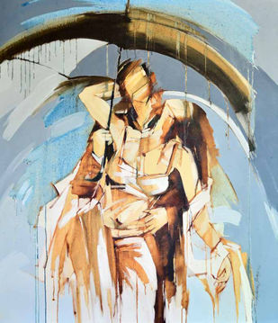 MONSOON MOMENT VI by Wilson Souza, Expressionism Painting, Oil on Canvas, Beige color