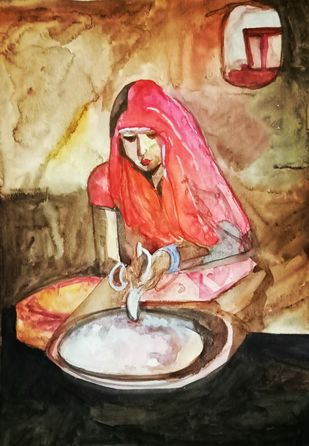The woman making roti by Rupinder kaur, Expressionism Painting, Watercolor on Paper, Brown color