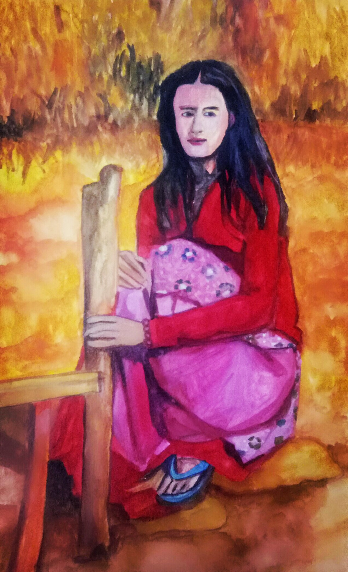 The woman by the mud wall Digital Print by Rupinder kaur,Expressionism