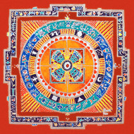 RP004 Surya Mandal by Dr. Bharati Mate, Geometrical Painting, Mixed Media on Canvas, Brown color