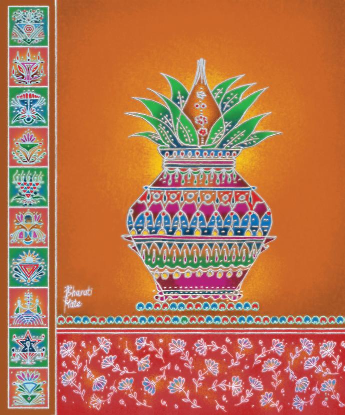 RP019 Kalasha Digital Print by Dr. Bharati Mate,Traditional