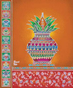 RP019 Kalasha by Dr. Bharati Mate, Traditional Painting, Mixed Media on Canvas, Brown color