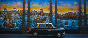 Fiat Naval Base Mural by Gautam Vir Prashad, Image Photography, Giclee Print on Hahnemuhle Paper, Blue color