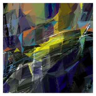 Untitled-j1 by Ajit Lakra, Abstract Digital Art, Digital Print on Canvas, Gray color