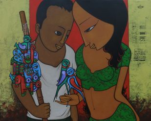 AFFECTION by H S BHATI, Expressionism Painting, Acrylic on Canvas, Brown color