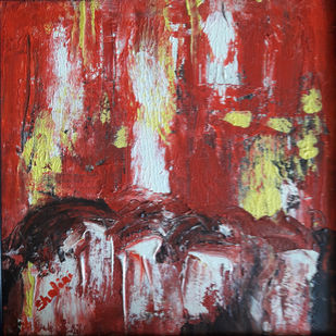 Red abstract-1 on canvas by Shalini Goyal, Abstract Printmaking, Acrylic on Canvas, Brown color