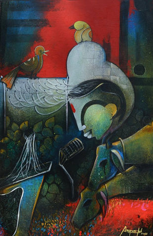 the meeting by anupam pal, Decorative Painting, Acrylic on Canvas, Green color