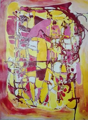 Mind Mirage by Broti Ganguly, Abstract Painting, Acrylic on Canvas, Brown color