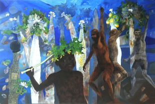 Monsoon Celebration by Jeevan Salian, Expressionism Painting, Acrylic on Canvas, Blue color