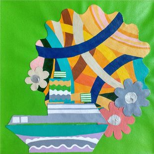 Nature Boat Series by Barkha jain, Expressionism Painting, Mixed Media on Canvas, Green color