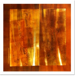 untitled by Ramesh Kher, Abstract Painting, Mixed Media on Canvas, Orange color