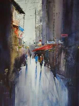 Shadows by Javid Iqbal, Expressionism Painting, Watercolor and charcoal on paper, Gray color