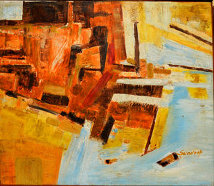 Abstract 2 by Anand Swaroop, Abstract Painting, Oil on Canvas, Orange color